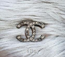 New 2013 Authentic CHANEL Classic CC Ruthenium Crystal Large Pin Brooch