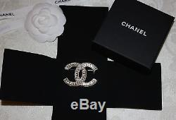 New 2015 Authentic CHANEL Classic Gold Tone CC Baguette Crystal Large Brooch