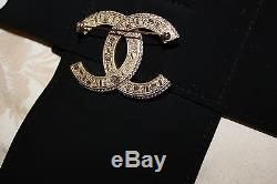 New 2016 Authentic CHANEL Classic Gold CC Two Tone Crystal Large Brooch
