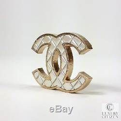 New Authentic Chanel CC White Quilted Gold Brooch