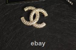 New Chanel CC Logo Brooch pin with crystal