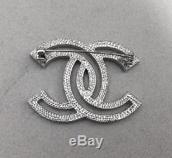 New Chanel CC Logo Multi Crystals Brooch Pin Classic Style 18k White Gold