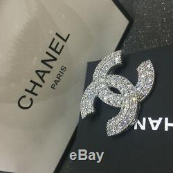 New Chanel Classic Baguette Crystal Large CC Logo Silver Tone Brooch Pin
