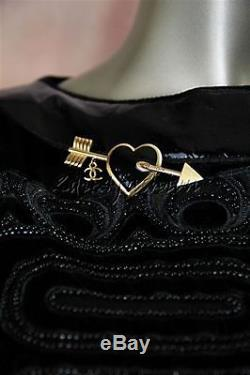 New in Box CHANEL Black Heart Gold Arrow Metal Hanging CC Charm Brooch