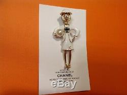 Newith/Auth Rare Chanel Vip Gift Coco perfume brooch pin in white