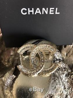 Nwt Chanel 2017 Brooch Strass Crystal CC Couture Gold Pin Jewel Soldout Classic