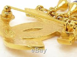 O7203 Auth VINTAGE Chanel 97P White & Blue CC Logo Brooch withBox Gold HW