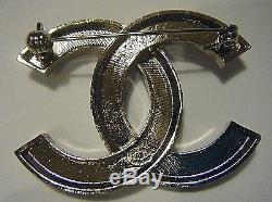 Older Large Authentic Chanel CC Classic Logo Pin Clear Rs Crystal Made In Italy