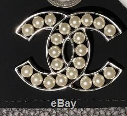 Only 1 New CHANEL XLarge CC Logo RARE Gunmetal Silver Pearl Pin Brooch Sold Out