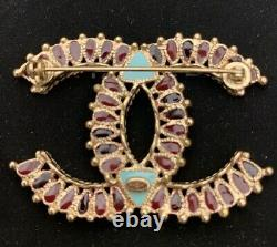 Original CHANEL 2014 DALLAS Collection Gripoix CC Brooch Burgundy and Turquoise
