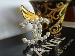 Pearls and Crystals Chanel CC Logo Gold Brooch