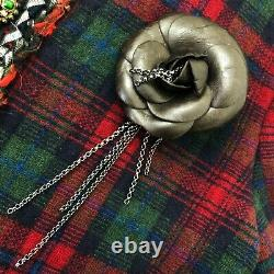 RARE Auth Chanel CC Logo Metal CHAIN Leather Camellia Flower Brooch Pin Corsage