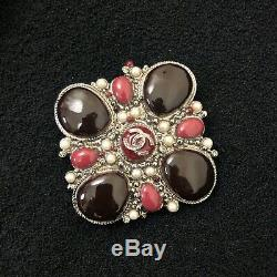 RARE Auth Chanel CC Logo Metal GRIPOIX Poured Glass Pearl Brooch Pin Corsage
