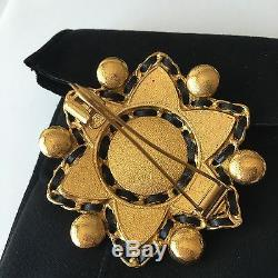 RARE Authentic CHANEL Vintage Multi Color GRIPOIX LARGE 3.25 Pin Brooch