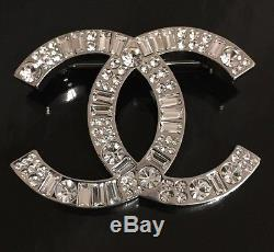 Rare Runway Couture Rhinestone Glass CC Logo Chanel Brooch Pin France
