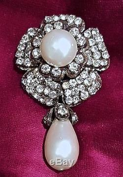 RARE VINTAGE Chanel Crystals and Faux Pearl Dangle Brooch Pin