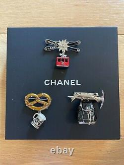Rare And Brand New Chanel Salzburg Enamel Ice Axe And Backback Brooch Charm