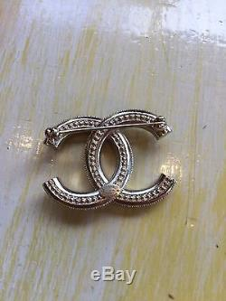 Rare Chanel Two Colour Gold Crystal CC Logo Brooch Rrp $600 Box Mint Authentic