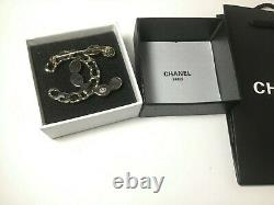 Rare Classic Chanel Style CC logo Silver Color Leather Colorful Pin / Brooch