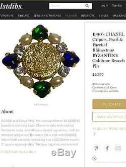 Rare Vintage Chanel'93a Gripoix Glass Pearl Crystal Brooch