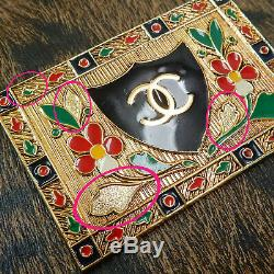 Rise-on CHANEL Gold Plated CC Logos Flower Vintage Large Pin Brooch #92c