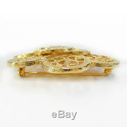 Rise-on CHANEL Gold Plated CC Logos Flower Vintage Pin Brooch #35c