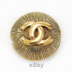 Rise-on CHANEL Gold Plated CC Logos Vintage Round Pin Brooch #1c