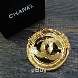 Rise-on CHANEL Gold Plated CC Logos Vintage Round Pin Brooch #52c