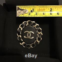 Sold Out NIB CHANEL CC Classic Logo Black Leather Quilted Chain Oval Brooch Pin
