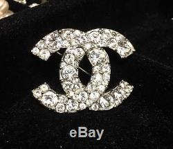Striking Rare Authentic CHANEL CC Logo Crystal Silver Brooch Pin