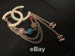 Stunning Genuine Large CHANEL Brooch Stamped with CC & Semi Precious Stones Used