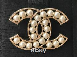 Timeless Classic Chanel 2018 Large Gold CC Logo Pearl Brooch Pin