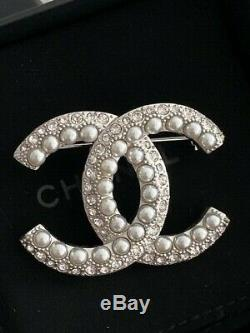 Timeless Classic Chanel Large CC Logo Crystal Pearl Brooch Pin