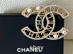 Timeless Classic Gorgeous Chanel Extra Large CC Logo Crystal Bow Pearl Brooch