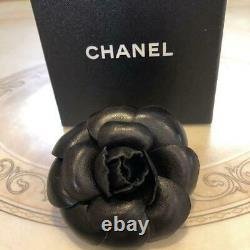 Used Authentic Chanel CC Camellia Brooch Pin Black Large