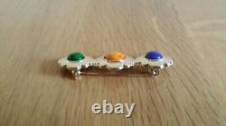 VINTAGE CHANEL GREEN/YELLOWithBLUE CABOCHON BROOCH Authentic