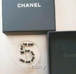 Very Rare! CHANEL Brooch No. 5 Leather Metal for Women Unused Nice
