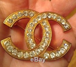 Vintage 1980's CoCo CHANEL Gold tone CC Brooch Pin withrhinestones