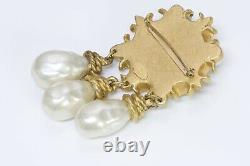 Vintage 1990's CHANEL Paris Baroque Style Gold Plated Pearl Drop Brooch