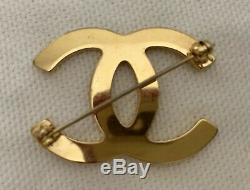 Vintage Chanel Gold CC Staff Employee Pin Brooch