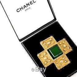 Vintage Chanel Green Cross Gripoix Pin Mint Brooch. NFV4225