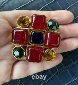 Vintage Chanel Gripoix Ruby, Sapphire Poured Glass Byzantine style brooch