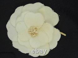 Vintage Classic Beige Fabric Flower Chanel Camellia Corsage Pin Brooch 3