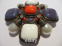 Xrare Mib Vintage Chanel Huge Gripoix Poured Glass&pearl Pendant/brooch-runway P